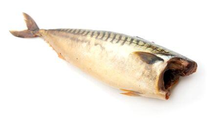 Smoked mackerel on a white background photo