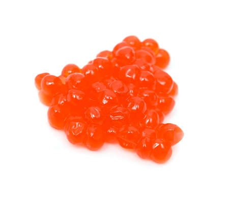 unpressed: Red salmon caviar heap isolated on white