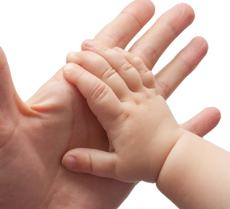 baby hand: Fathers and babys hands