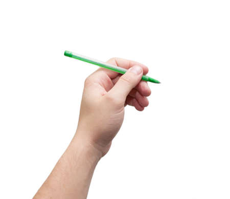 Pen in hand. Isolated on white background  Stock Photo - 12997596