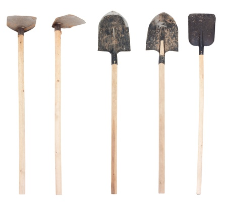 shovel: collection of spades on a white background