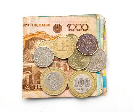 money on white background Kazakhstan