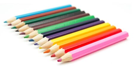 Colour pencils isolated on white background close up  Stock Photo - 13048448