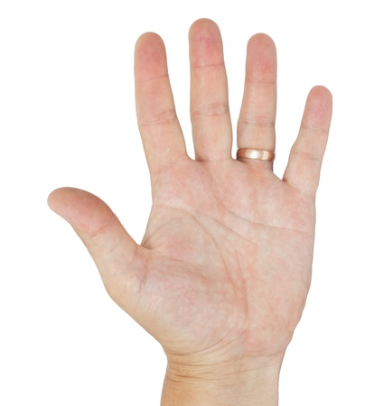 hand with a ring of men on a white background photo