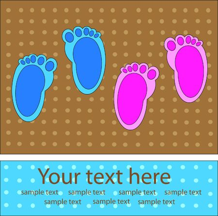 souvenirs: traces of baby boy and girl vector Stock Photo