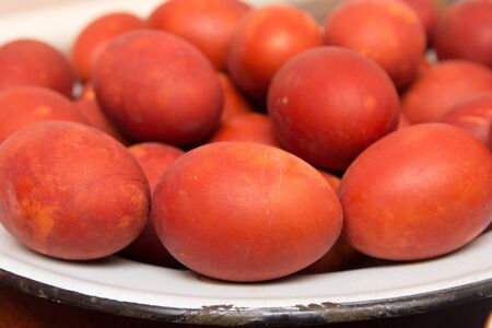 red eggs on the Orthodox Easter photo