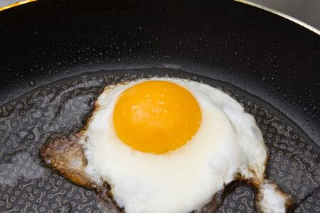 Eggs fried in a pan photo