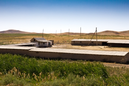 nomadism: House for livestock in the steppe of Kazakhstan