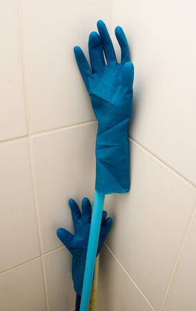 blue rubber gloves photo