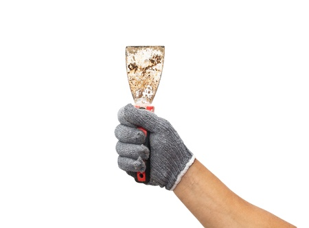 spatula in the men's hands on a white background Stock Photo - 16171675