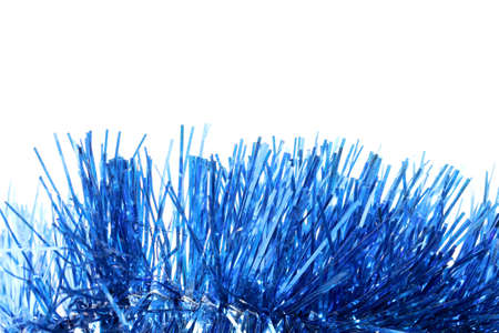 cele: blue tinsel on a white background