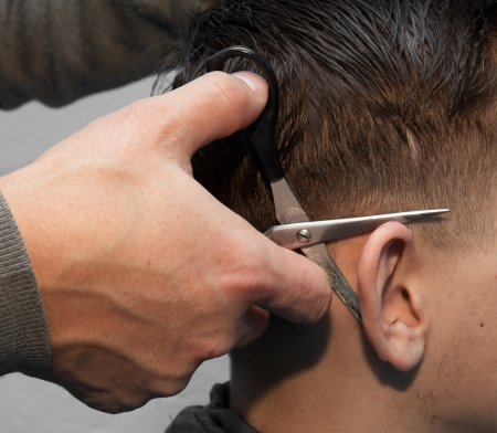 barber shears ear photo