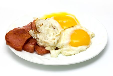 fried sausage with eggs on a white background Stock Photo - 17873352