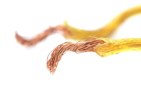 nip: copper wire on a white background. macro Stock Photo