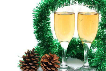 s eve: glasses of champagne in the new year