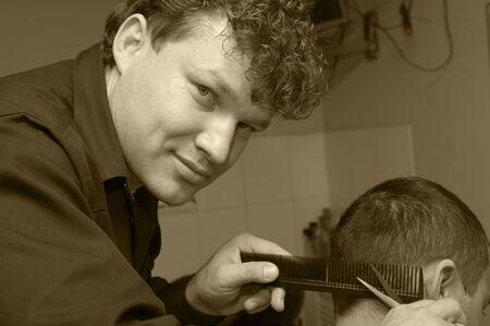master: master barber at work Stock Photo