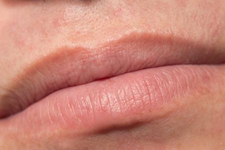 smoothfaced: Mens lips. macro
