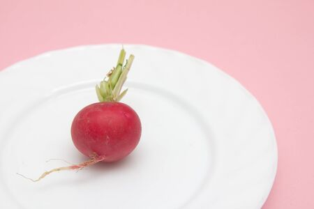 red radish in a bowl on a pink background photo