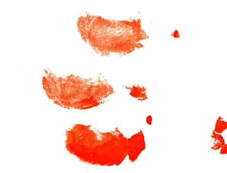 agonizing: fingerprints in red on a white background