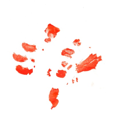 fingerprints in red on a white background photo