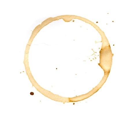 manchas de cafe: Anillos de la taza de caf� aislados en un fondo blanco. Foto de archivo