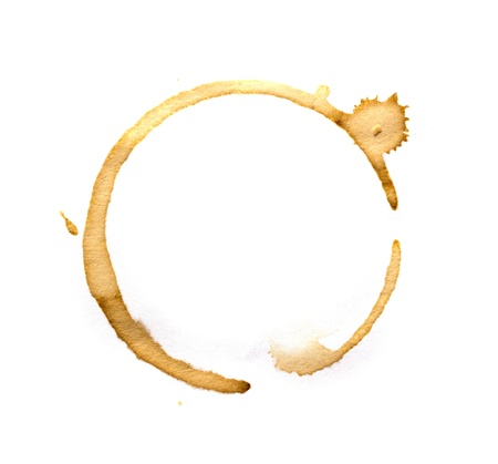 stain: Coffee cup rings isolated on a white background. Stock Photo