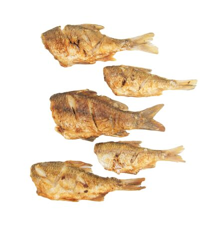 fried fish on a white background