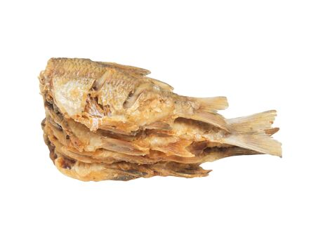 asian redtail catfish: fried fish on a white background