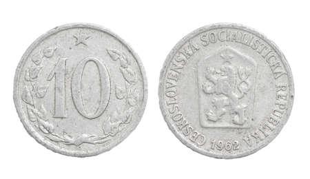 czechoslovakia: Czechoslovakia coins on a white background