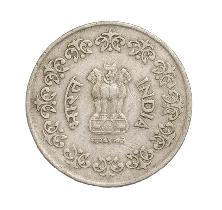 Indian coins on a white background photo