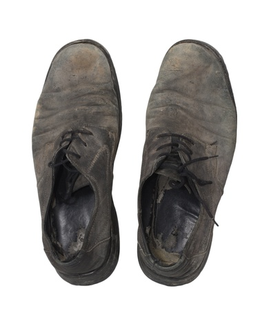 old black shoes on a white background photo