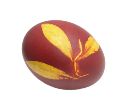 egg with a leaf pattern on Orthodox Easter photo