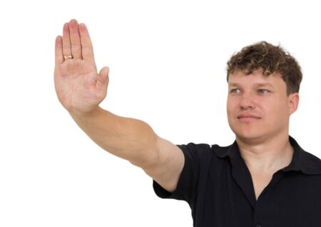 self assured: man showing stop hand on a white background