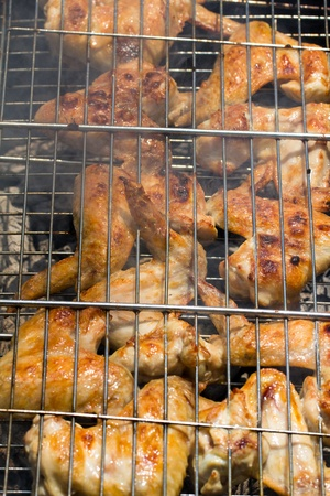 skewers. grilled meat on the coals Stock Photo - 21332202