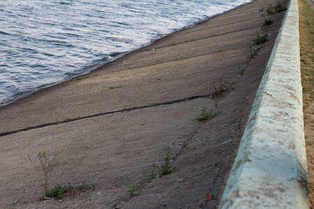water in the concrete dam photo