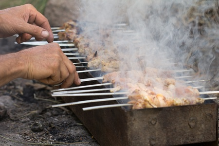 chargrill: skewers. grilled meat on the coals Stock Photo