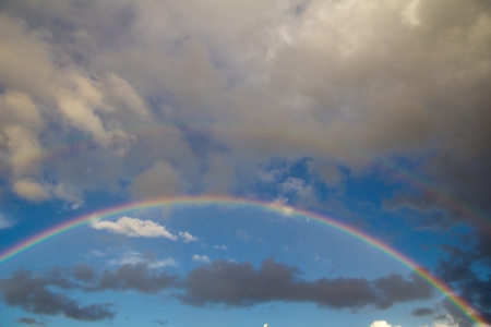 rainbow in the sky on the nature photo