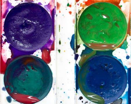 colorful watercolor paints photo