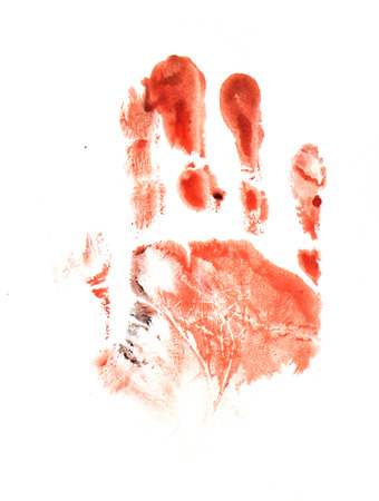 Spooky hand print isolated on white background photo