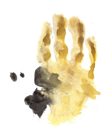 watercolor hand print on white paper photo