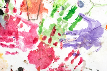 left hand: watercolor hand print on white paper