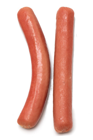 hot pink: two sausage on a white background