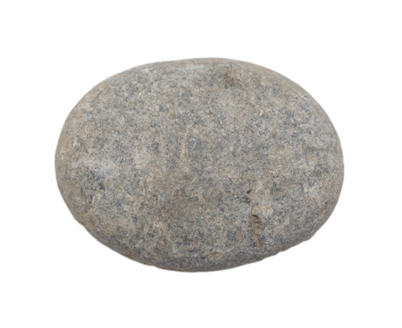 roundish: one stone on a white background Stock Photo