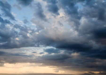 dramatic sky: background of the sky with clouds at sunset Stock Photo