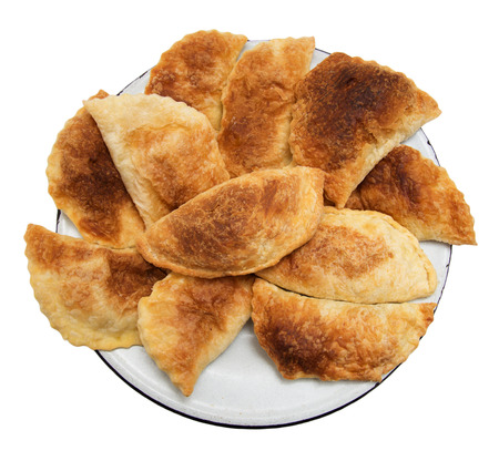 pasty: fresh tasty meat pies on a white background