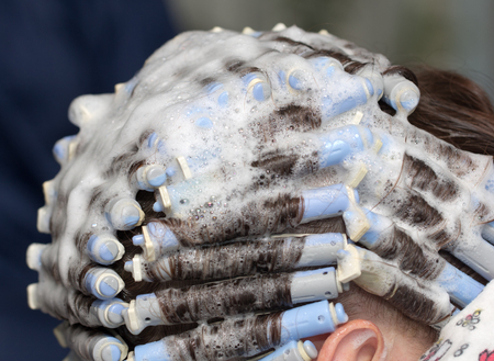 hair rollers: perm at the beauty salon