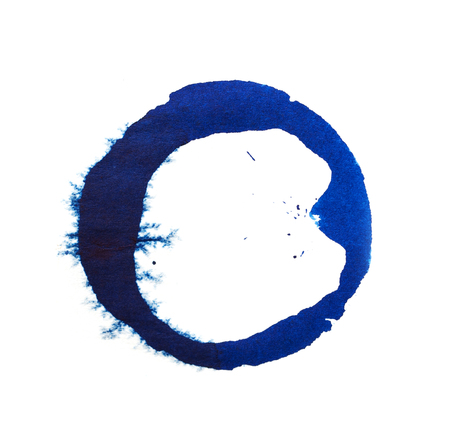 prejudiced: spot of blue ink on a white background Stock Photo