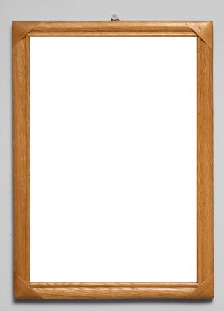 wooden frame with a white  photo