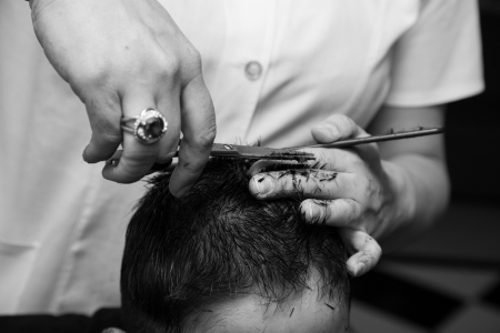 haircut at the barber scissors photo