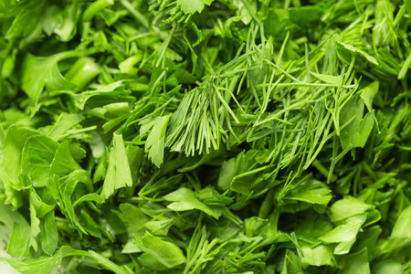 background of chopped fennel with parsley. macro photo